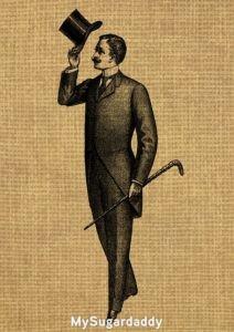 Podemos ver una representación de un caballero. Así es como se imagina. Con sombrero y bastón.